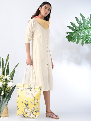 Ivory Front-open Cotton Slub Dress with Pockets