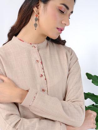 Beige Front-open Cotton Slub Dress with Pockets