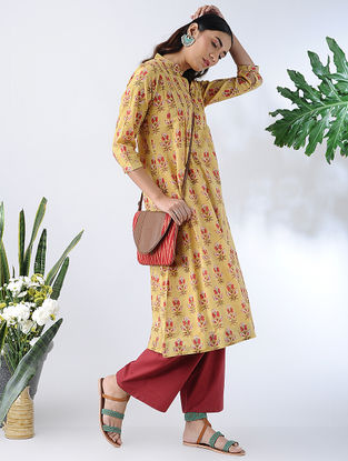 Yellow-Red Block-printed Cotton Kurta with Pleats