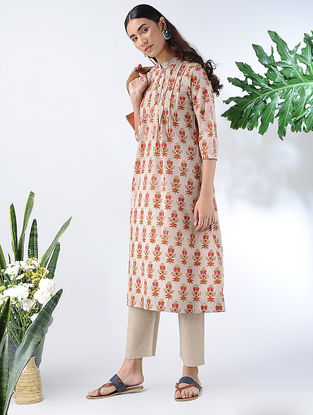 Beige-Red Block-printed Cotton Kurta with Pleats