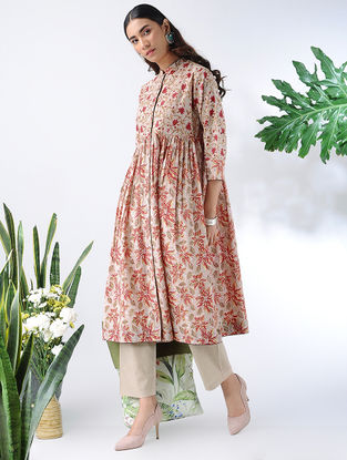 Beige-Red Block-printed Cotton Kurta with Gathers