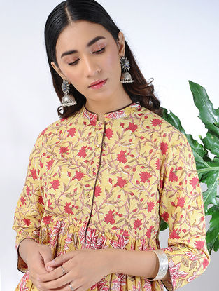 Yellow-Red Block-printed Cotton Kurta with Gathers