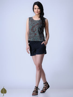 Grey Knitted Block-printed Cotton Modal Top with Zari Detail by Jaypore