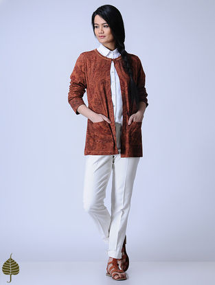 Madder Knitted Block-printed Cotton Modal Shrug with Zari Detail by Jaypore