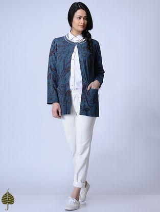 Indigo Knitted Block-printed Cotton Modal Shrug with Zari Detail by Jaypore