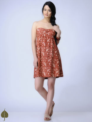 Madder Knitted Kalamkari Cotton Modal Dress with Zari Detail by Jaypore