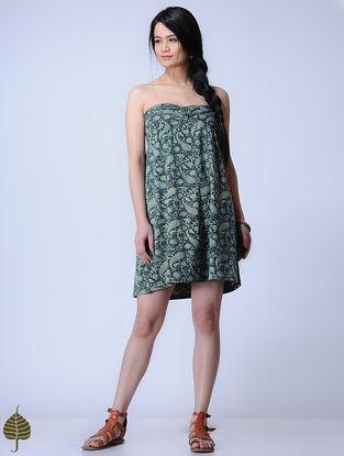 Indigo Knitted Kalamkari Cotton Modal Dress with Zari Detail by Jaypore