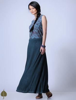 Indigo Knitted Viscose Slub Skirt with Zari Detail by Jaypore