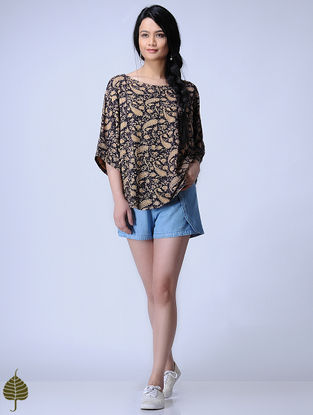 Black Knitted Kalamkari Cotton Modal Top with Zari Detail by Jaypore