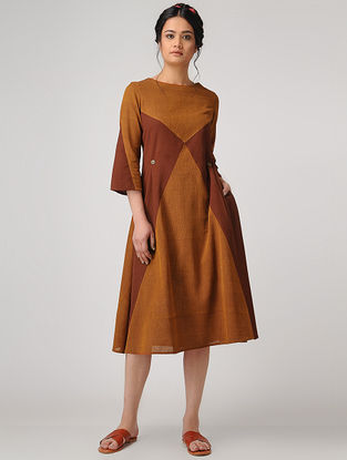 Mustard-Brown Handloom Cotton Dress with Tie-up