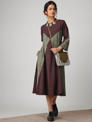 Maroon-Grey Handloom Cotton Dress with Tie-up