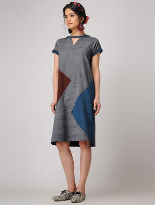 Grey-Maroon Handloom Cotton Shift Dress with Pockets