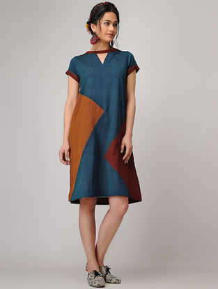 Teal-Maroon Handloom Cotton Shift Dress with Pockets