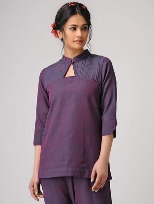 Purple Handloom Cotton Top with Pleats