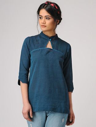 Teal Handloom Cotton Top with Pleats