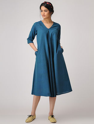 Teal Handloom Cotton Dress with Pockets