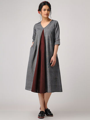 Grey-Maroon Handloom Cotton Dress with Pockets