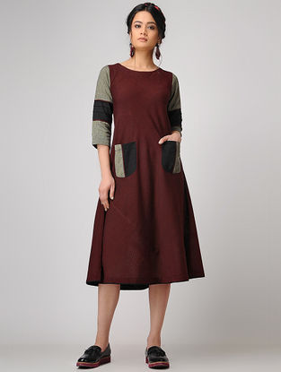 Maroon Handloom Cotton Dress with Tie-up