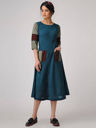 Teal Handloom Cotton Dress with Tie-up