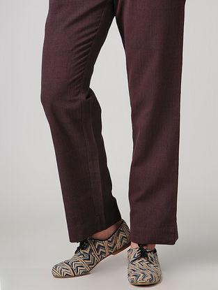 Maroon Elasticated-waist Handloom Cotton Pants