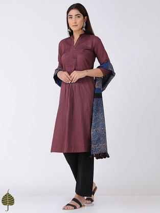 Maroon Pintuck Cotton Mul Kurta by Jaypore