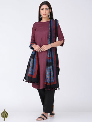 Maroon Cotton Mul Kurta by Jaypore