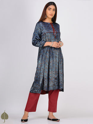 Indigo-Madder Ajrakh-printed Pleated Mashru Kurta with Tassels by Jaypore