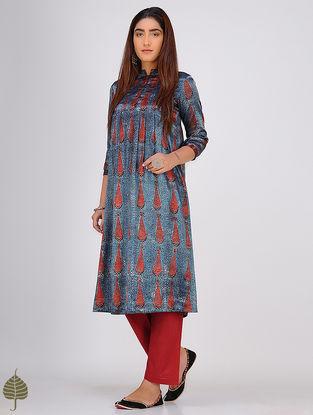Indigo-Madder Ajrakh-printed Mandarin Collar Mashru Kurta by Jaypore