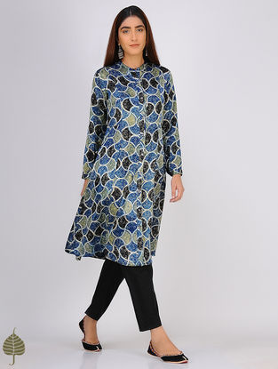 Multicolor Ajrakh-printed Button Down Mashru Kurta by Jaypore