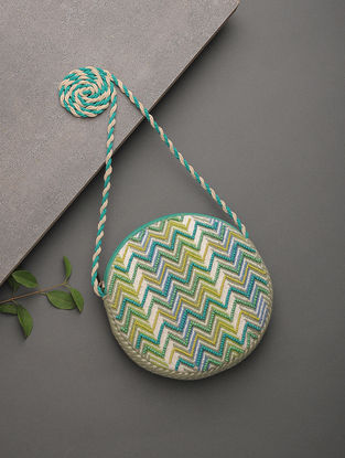 Blue-Green Beads Embellished Jacquard Cotton Sling Bag