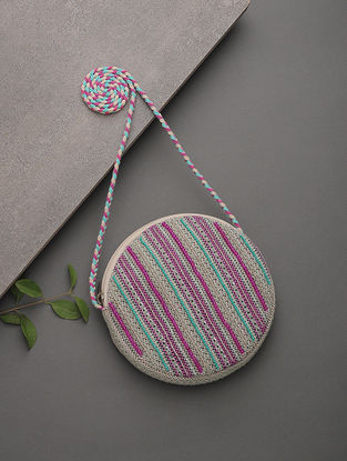 Pink-Blue Beads Embellished Jacquard Cotton Sling Bag