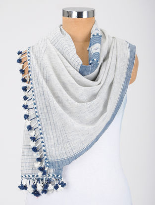 Ivory-Blue Kala Cotton Stole with Tassels