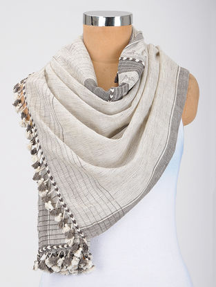 Ivory-Grey Kala Cotton Stole with Tassels