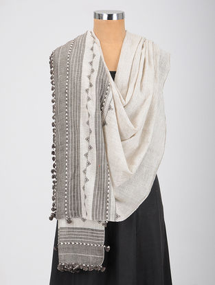 Ivory-Grey Kala Cotton Dupatta with Tassels