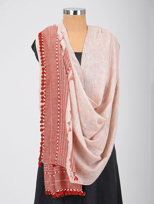 Ivory-Red Kala Cotton Dupatta with Tassels