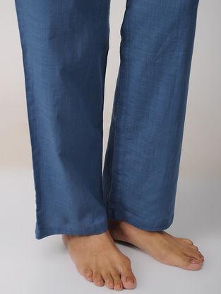 Blue Elasticated Tie-up waist Cotton Pajamas by Jaypore