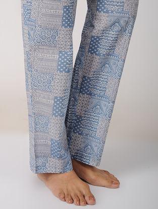 Blue Elasticated Tie-up waist Printed Cotton Pajamas by Jaypore