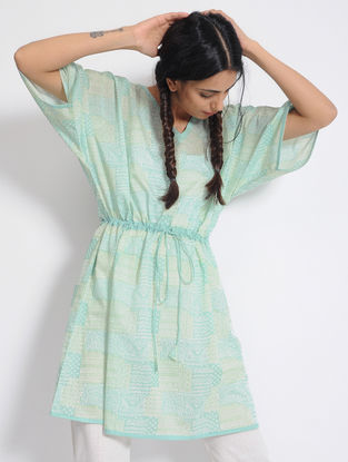 Green Printed Cotton Kaftan with Drawstring by Jaypore