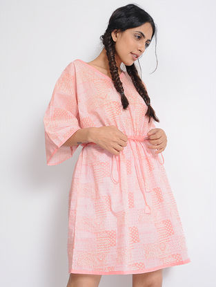 Orange Printed Cotton Kaftan with Drawstring by Jaypore