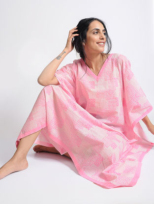Pink Printed Cotton Kaftan by Jaypore