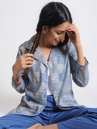 Blue Front-open Printed Cotton Shirt by Jaypore