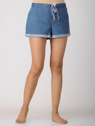 Blue Elasticated-waist Cotton Shorts by Jaypore