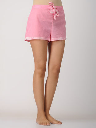 Pink Elasticated-waist Cotton Shorts by Jaypore