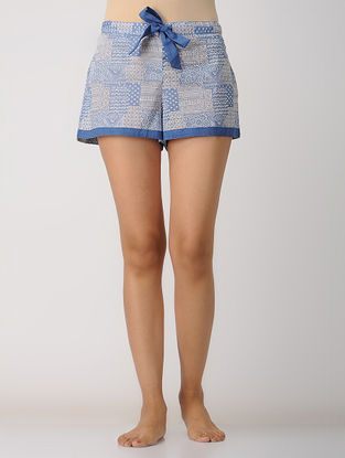 Blue Elasticated-waist Printed Cotton Shorts by Jaypore