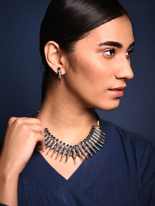 Blue Dual Tone Brass Necklace with Earrings (Set of 2)