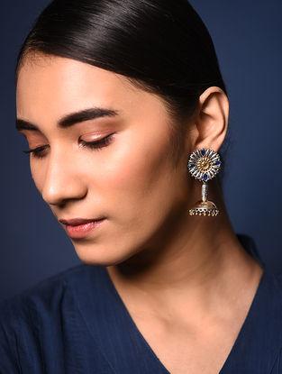 Blue-Red Dual Tone Brass Earrings