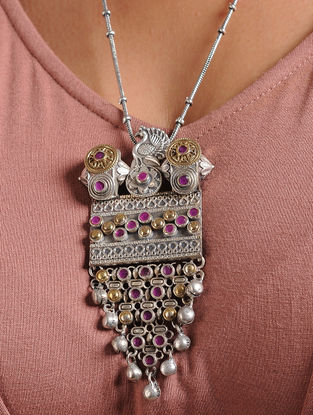 Pink Dual Tone Brass Necklace