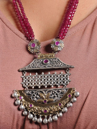 Pink-Red Dual Tone Brass Necklace