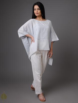 Blue-White Handloom Khadi Top by Jaypore