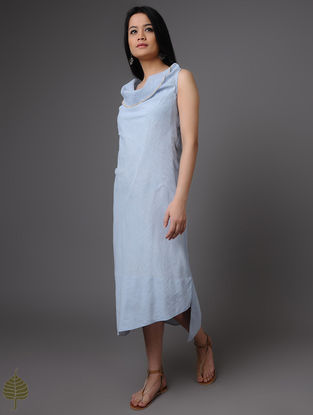 Blue-White Handloom Khadi Dress by Jaypore